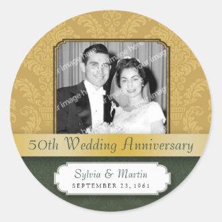 Framed Damask Golden (50th) Anniversary sticker