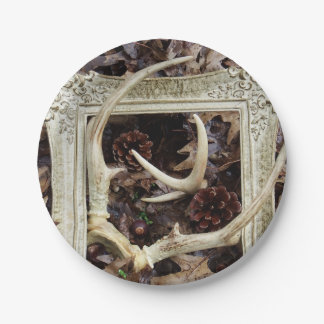 Framed Deer Antlers Photographic Art Paper Plate