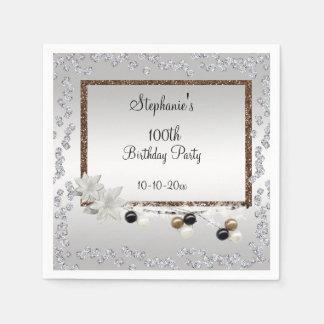 Framed Elegance 100th Birthday Party Disposable Serviette