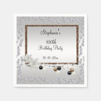 Framed Elegance 100th Birthday Party Paper Serviettes