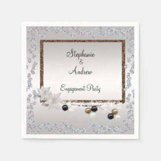 Framed Elegance Engagement Party Disposable Serviettes