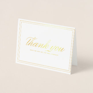 Framed Elegance Gold Foil Thank You Card