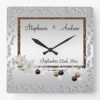 Framed Elegance Wedding Square Wall Clock