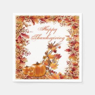 Framed In Color Autumn Leaves Thanksgiving Napkins Disposable Serviette