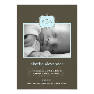Framed Initials Birth Announcement - Blue/Gray
