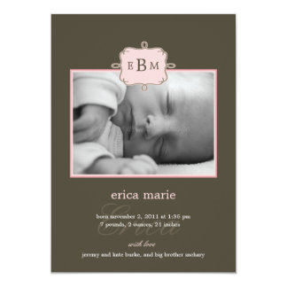 Framed Initials Birth Announcement - Pink/Gray