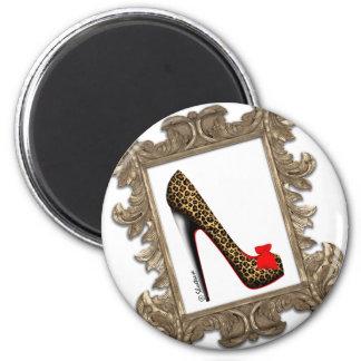 Framed Leopard Stiletto Pump Fridge Magnet