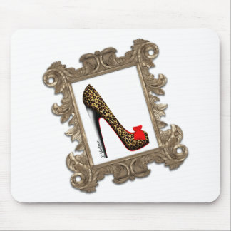 Framed Leopard Stiletto Pump Mousepad