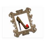 Framed Leopard Stiletto Pump Post Card