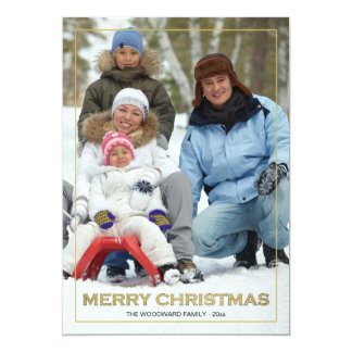 Framed Merry Christmas (V) Photo Holiday Card 13 Cm X 18 Cm Invitation Card