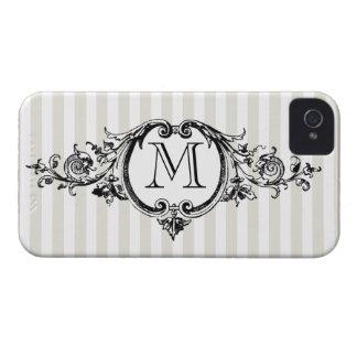 Framed Monogram On Stripes Case-Mate iPhone 4 Cases