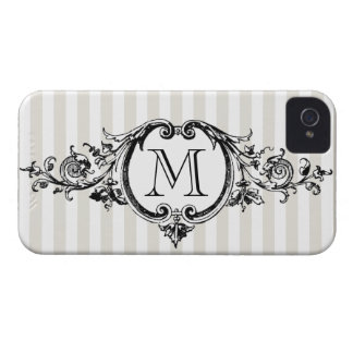 Framed Monogram On Stripes iPhone 4 Case-Mate Cases