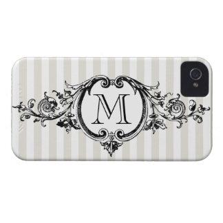 Framed Monogram On Stripes iPhone 4 Case-Mate Cases