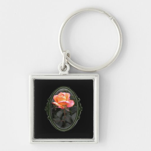 Framed Oval Dream Come True Rose Key Chains