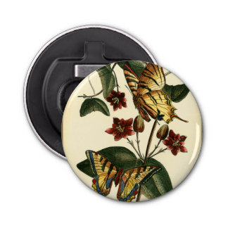 Framed Painting of Butterflies and Flowers Bottle Opener