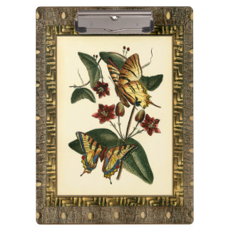 Framed Painting of Butterflies and Flowers Clipboard