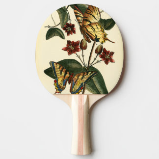 Framed Painting of Butterflies and Flowers Ping Pong Paddle