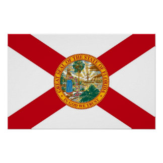 Framed print with Flag of Florida, U.S.A.