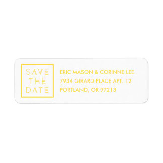 Framed Save the Date Mailing Label - Lemon