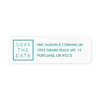 Framed Save the Date Mailing Label - Teal