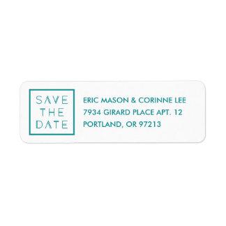 Framed Save the Date Mailing Label - Teal Return Address Label