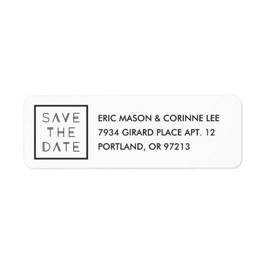 Framed Save the Date Mailing Label - White Return Address Label