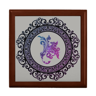 framed tattoo lily design large square gift box