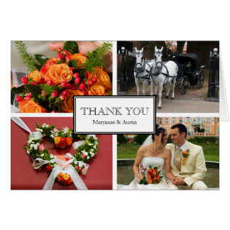 Framed thank you 4 photo montage personal note card