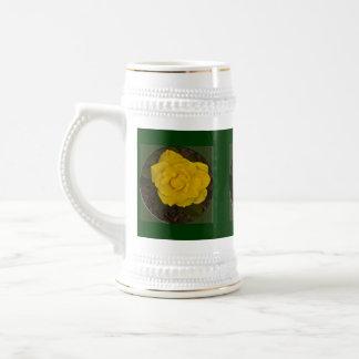 Framed Yellow Rose 18 Oz Beer Stein