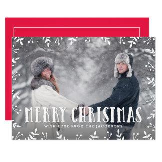 Framing Foliage Merry Christmas Holiday Photo Card