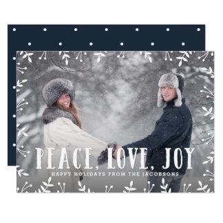 Framing Foliage Peace Love Joy Holiday Photo Card
