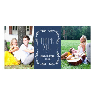 Framing Leaves Wedding Thank You Cards Navy Photo Card