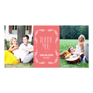 Framing Leaves Wedding Thank You Cards Salmon