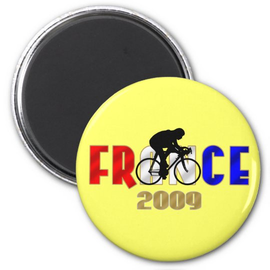France 2009 Yellow cycling sticker for cycle fans 6 Cm Round Magnet