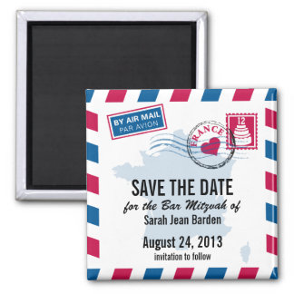 France Air Mail Bar Mitzvah Save the Date Square Magnet