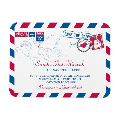 FRANCE Air Mail Bat Mitzvah Save the Date 3x4 Rectangular Magnets