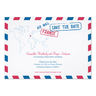 France Air Mail Wedding Save The Date Card