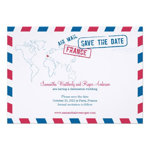 France Air Mail Wedding Save The Date Personalized Invitation