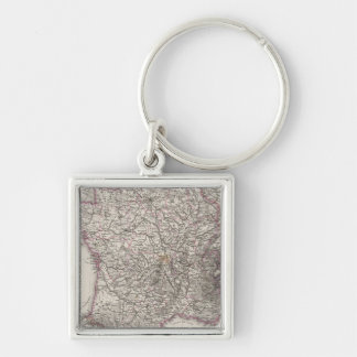 France and Switzerland Silver-Colored Square Key Ring