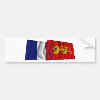 France & Aquitaine waving flags Bumper Sticker