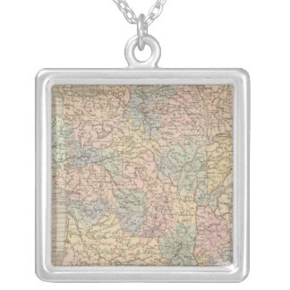 France Atlas Map Silver Plated Necklace