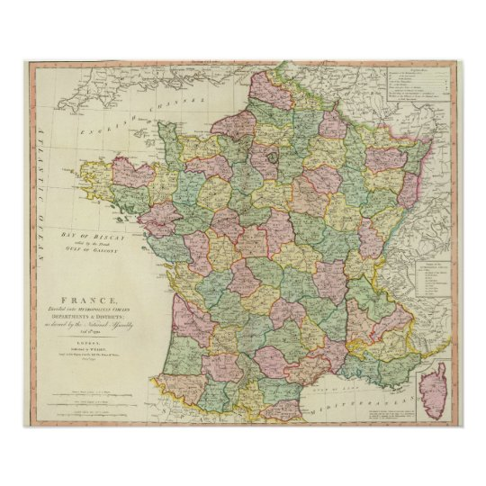 France Atlas Map with Bishops Poster