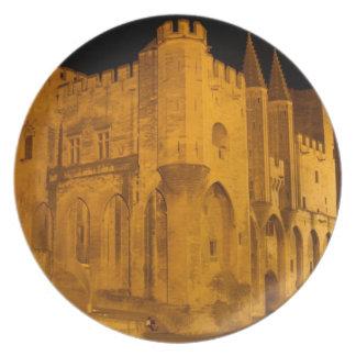 France, Avignon, Provence, Papal Palace at night 2 Plate