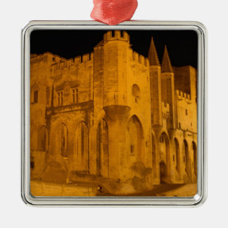 France, Avignon, Provence, Papal Palace at night 2 Silver-Colored Square Decoration