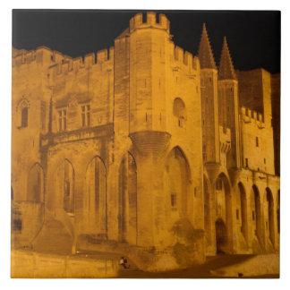 France, Avignon, Provence, Papal Palace at night 2 Tile