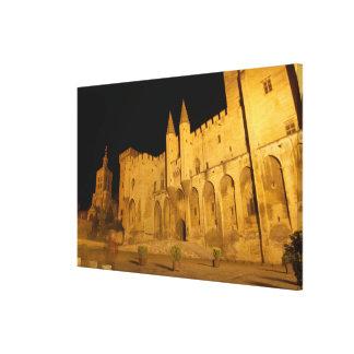 France, Avignon, Provence, Papal Palace at night Canvas Print
