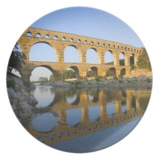 France, Avignon. The Pont du Gard Roman aqueduct Party Plate