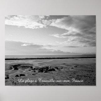 France beach photograph black white poster
