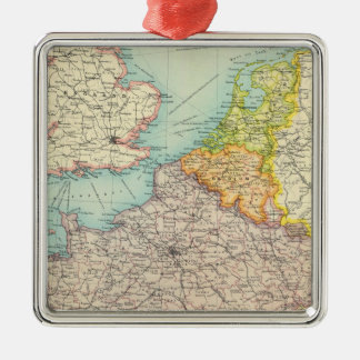 France, Belgium & Holland political Silver-Colored Square Decoration