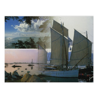 France, Bretagne traditional coastal vessel Poster